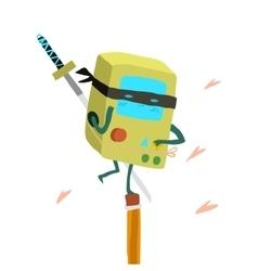 Cartoon ninja robot console flat mascot vector image