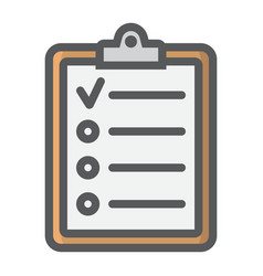 Checklist filled outline icon clipboard and note vector