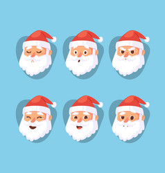 christmas santa claus head emotion faces vector image