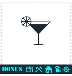 Cocktail icon flat vector