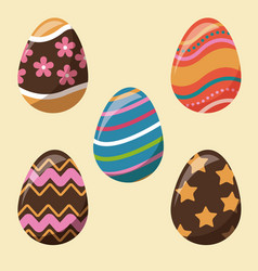 collection easter egg decoration party vector image