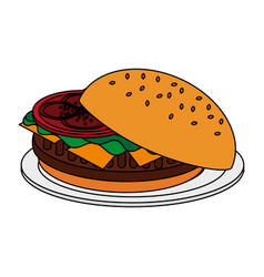 Color image cartoon hamburger in dish fast food vector
