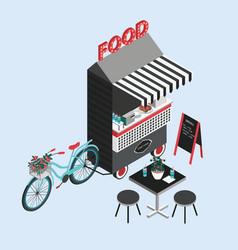 Concept street food bicycle kiosk foodtruck vector