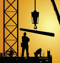 Constuction worker at work with crane vector