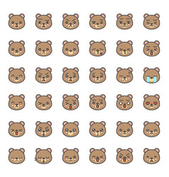 Cute bear emotion face in various expession vector