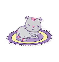 Cute cat sitting on round carpet cartoon vector