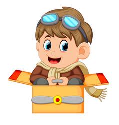 cute little boy in pilot costume vector image