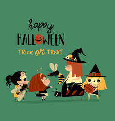 cute little halloween redheaded witches vector image