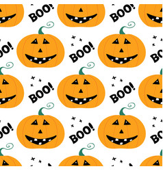 Cute smiling pumpkin character with boo lettering vector