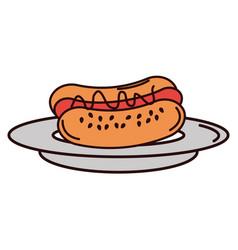 delicious hot dog icon vector image