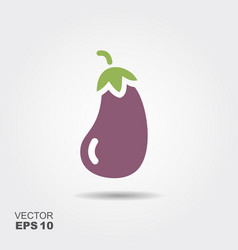 Eggplant flat icon with shadow vector