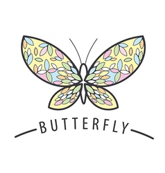 Elegant Butterfly logo of the petals vector image vector image