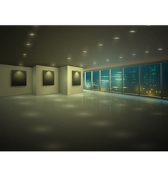 Empty illuminated apartment at night vector