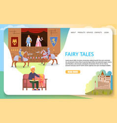 Fairy tales landing page website template vector