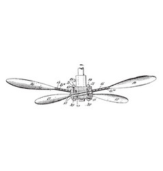 Fan propeller vintage vector