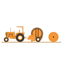 Farm tractor and round baler vector image