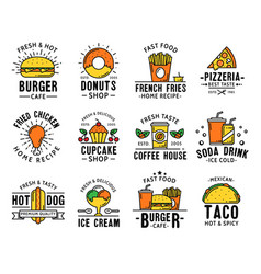 Fast food menu delivery and takeaway signs icons vector