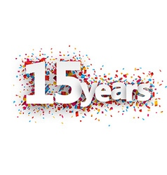 Fifteen years paper confetti sign vector
