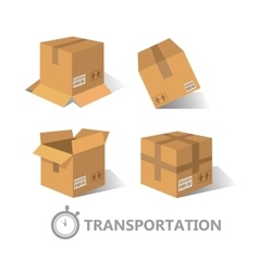 Flat boxes icons set EPS10 vector image