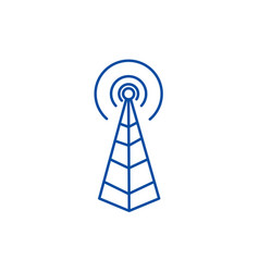 Frequency antennaradio tower line icon concept vector