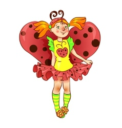 Girl dressed as ladybug for Christmas vector image