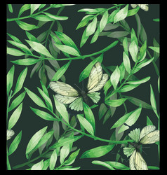 Green leave seamless pattern hand drawn painted vector