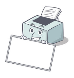 Grinning with board printer character cartoon vector