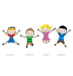 Group happy children jumping isolated vector