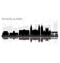 guadalajara mexico city skyline black and white vector image