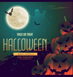Halloween background with pumpkins and moon vector