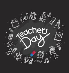 happy teachers day concept with schooldask vector image