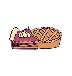 happy thanksgiving day sweet pie and slice cake vector image