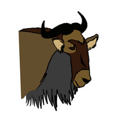 head wildebeest african wildlife animal vector image
