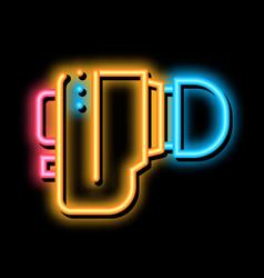 Hearing aid neon glow icon vector