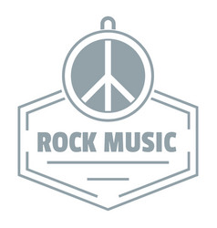 Hippie rock music logo simple gray style vector