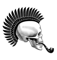 human skull half face with smoking pipe and vector image