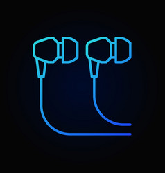 In-ear wired headphones blue icon - outline vector