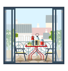 Interior of balcony table and chairs potted vector