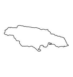 Jamaica map black contour curves of vector