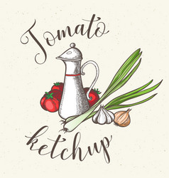 jar with tomato ketchup vector image