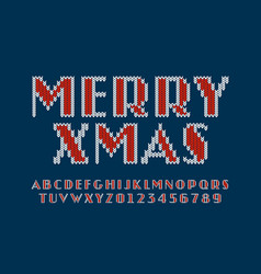 Knitted font christmas latin alphabet letters vector