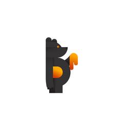 Letter b black honey bear logo icon logotype vector