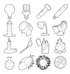 Light source icons set outline style vector