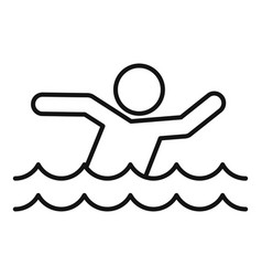 Man walking flood icon outline style vector