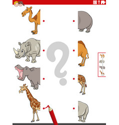 Match halves pictures with safari animals vector