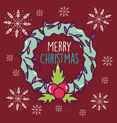 merry christmas celebration wreath berry vector image
