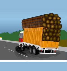 Overloaded truck with excessive black smoke vector