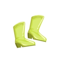Pair Of Green Rubber Boots vector