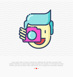 Photographer thin line icon man is holding camera vector