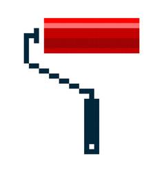 pixel paint roller brush pixel art cartoon retro vector image